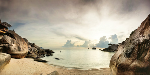Panorama of tropical beach before sunset