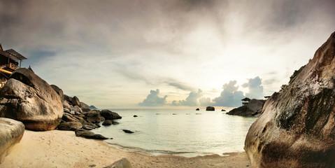 Panorama of tropical beach before sunset