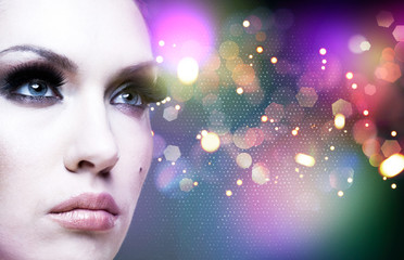 Art abstract female portrait with beauty bokeh
