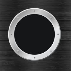 black wood background with porthole, vector image