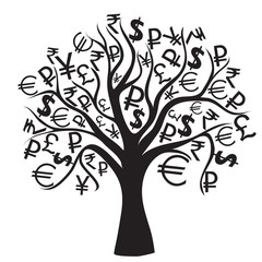 set of money trees isolated on White background. Vector