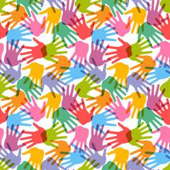 Seamless handprint pattern, vector illustration for design