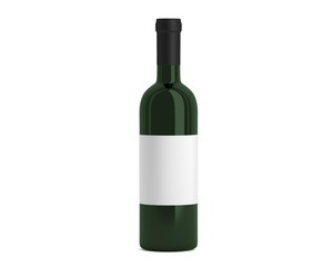 Weinflasche grün mit Etikett