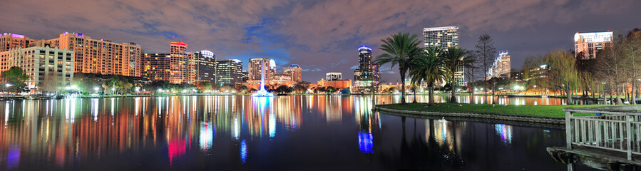 Fototapete - Orlando night panorama