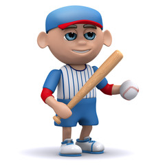 3d Baseball kid with bat and ball