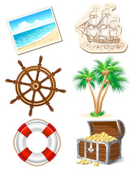 Set of icons for sea travel