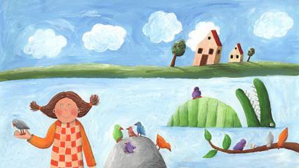 Girl, bird and crocodile