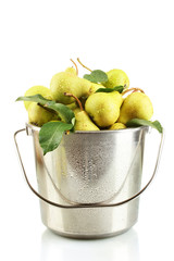Juicy flavorful pears in pail isolated on white