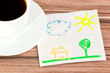 Landscape on a napkin