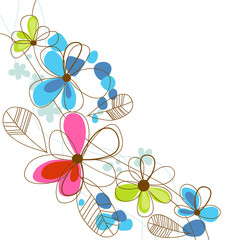 Spoed Fotobehang Abstract bloemen Colorful happy floral background