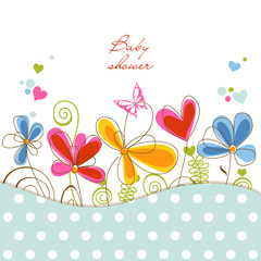 Spoed Fotobehang Abstract bloemen Floral baby shower