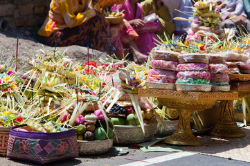 Indonesia. Gifts to gods on a religious holiday..