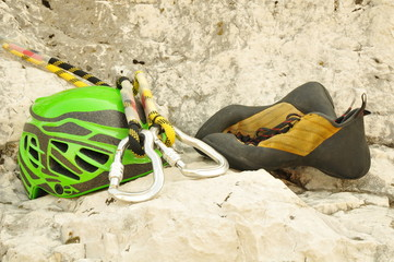 Climbing helmet, carabiner and shoes