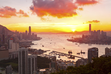 Hong Kong sunset at downtown