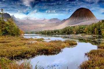 Foto auf Leinwand Fantasie-Landschaft landscape with lake and mountains