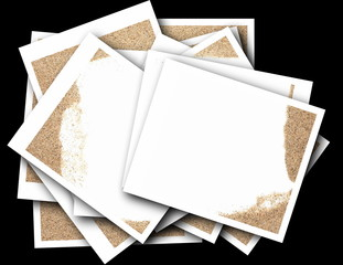empty photos with desert sand isolated on black backgrounds