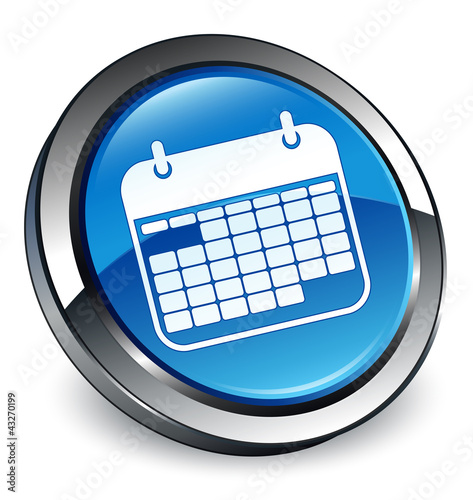 """Calendar icon 3D blue button"" Stock image and royalty ..."