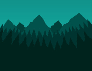 Green trees and mountain nature scene