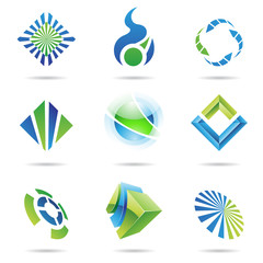 Various blue and green abstract icons, Set 6