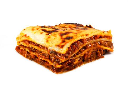 Homemade traditional lasagna and fries