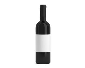 Weinflasche schwarz mit Etikett