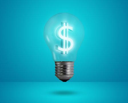 Money making idea. Light bulb with Dollar symbol.