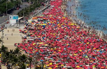 Sunny carnival day on Ipanema Beach