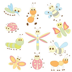 collection of cartoon insects