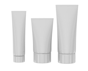 white cosmetic tubes on white backgrounde