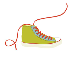 Green sneaker vector illustration isolated