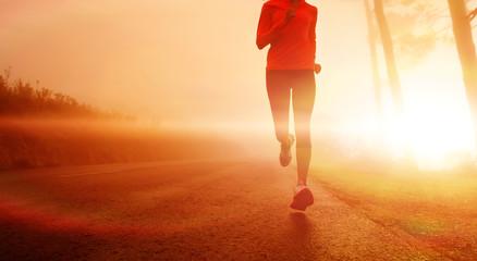 Aluminium Prints Jogging Sunrise running woman