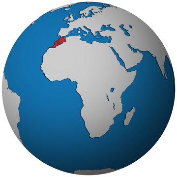 morocco flag on globe map