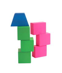 colorful wooden toy blocks on white background