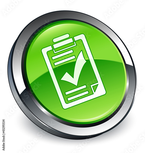 Checklist icon 3D green button
