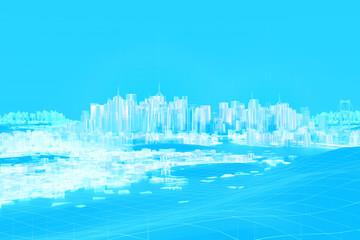 Digitale Stadt futuristisches 3D Konzept hellblau weiß