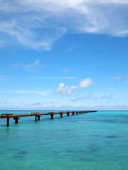 きれいな海と誘導路