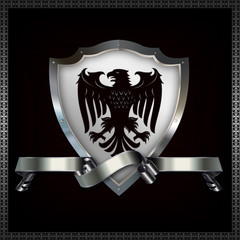 Wall Mural - Decorative heraldic shield with image of eagle.