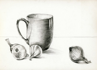 cup and onions - pencil technique