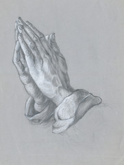 hands (by A. Durer), pencil and white chalk technique