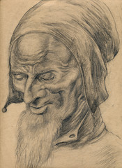 wise fool, pencil technique