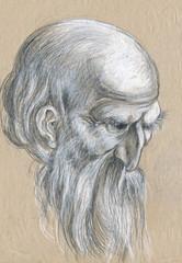 head philosopher - pencil, black, white and light blue chalk