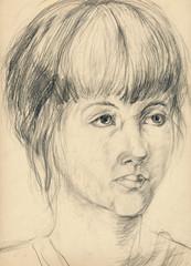 young girl, pencil technique