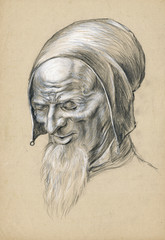 wise fool, pencil and white chalk technique