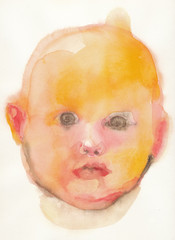 baby - color head (water colors)