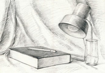 still life with the book, pencil technique