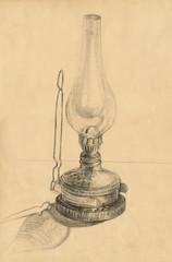 kerosene lamp, pencil technique