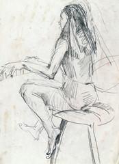 girl with piano, pencil technique