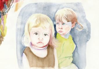 two little friends, watercolors technique, hand painted