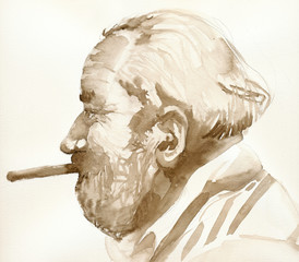 man with cigar, watercolors technique