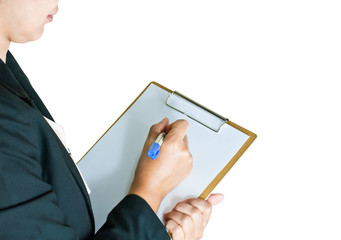 Business woman taking note on clipboard